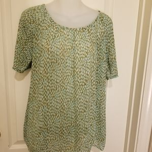 Cabi sheer mint colored short sleeve blouse, S